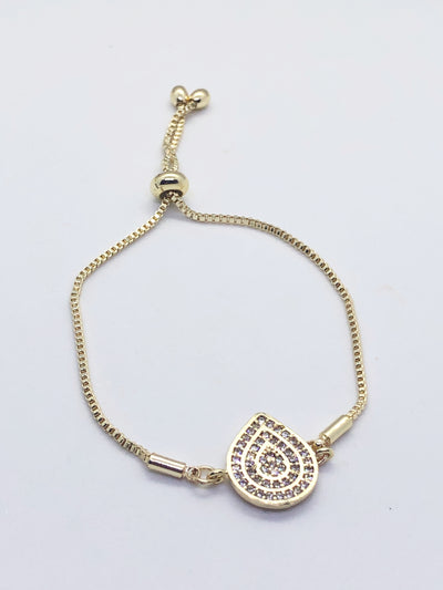 Gold Raindrop Fitted Bracelet