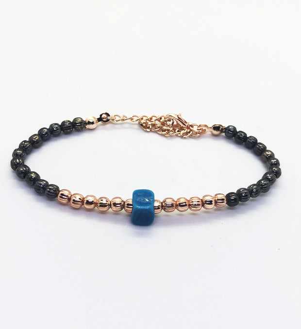 Rose Gold with Blue Stone Bracelet