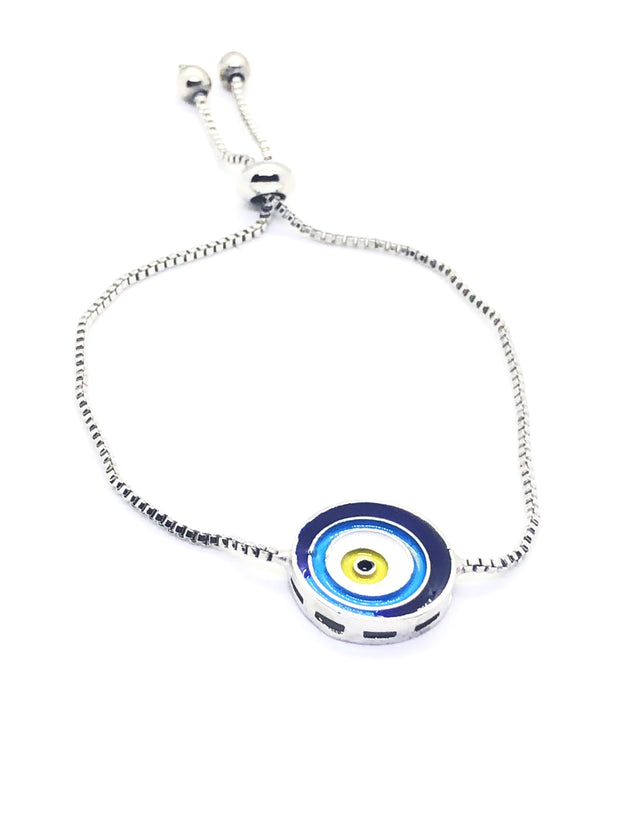 Silver Evil Eye Blue Colour Circle Fitted Bracelet