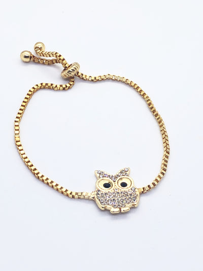 Gold Black Eyes Owl Fitted Bracelet
