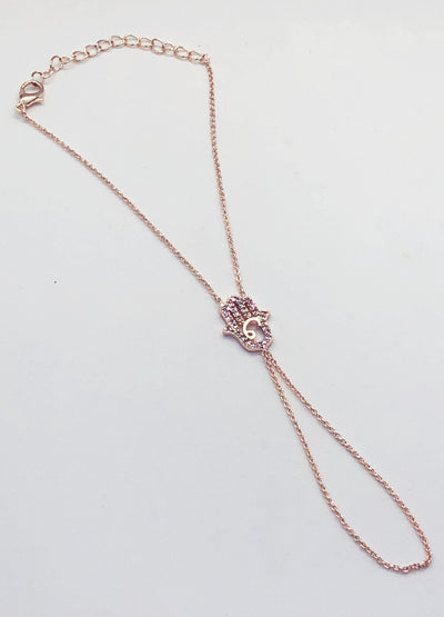 Rose Gold Hand Chain Hamsa Bracelet