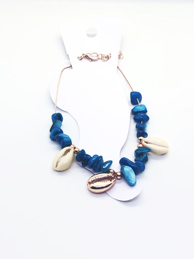 Rose Gold Blue Sea Shell Anklet