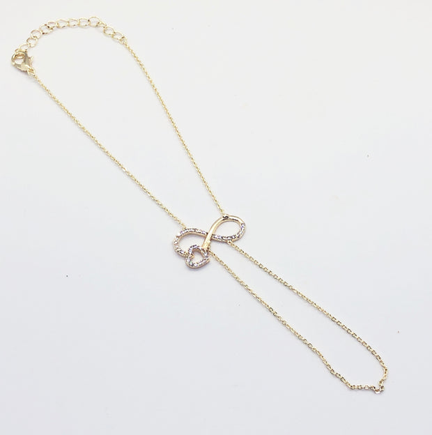 Gold Infinite Heart Hand Chain Bracelet
