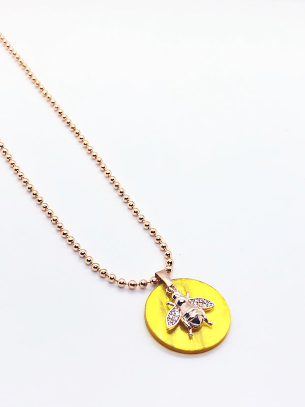 Long Yellow Stone with Bee Necklace