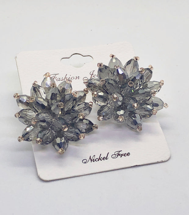 Grey Flower Earrings