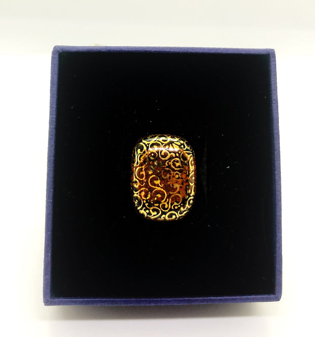 Gold Ring with Handmade Glass