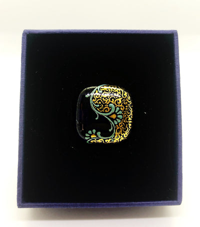 Gold And Navy Blue Ring With Handmade Glass