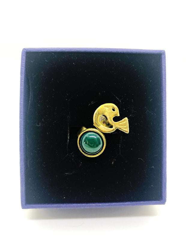Handmade gold plated ring with green stone