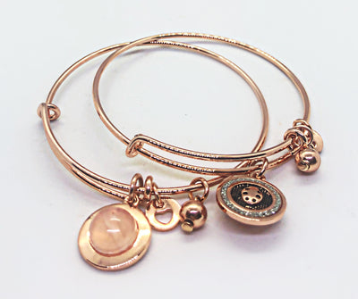 Rose Gold double side bangle