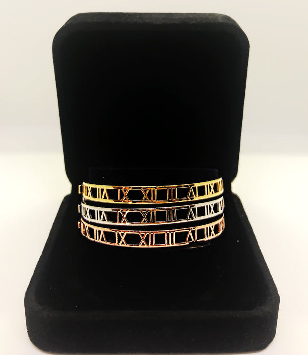 3 tone Tiffany style bangles with zirconia