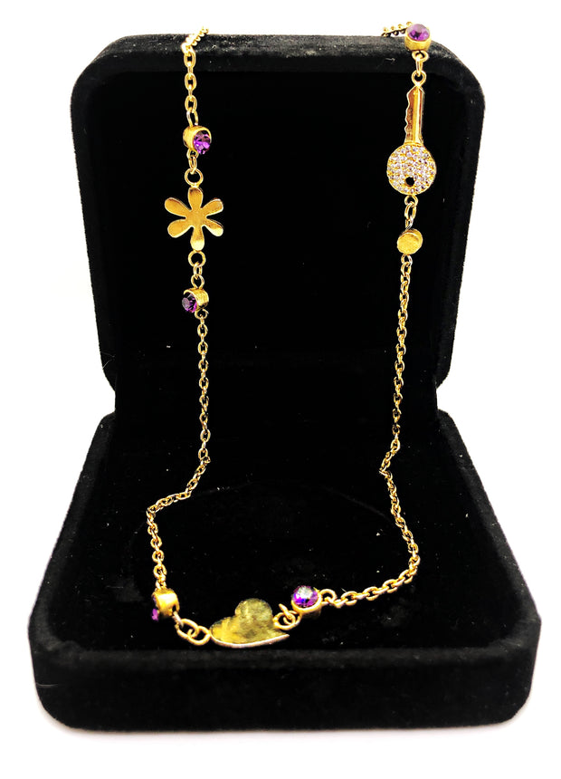 Gold short necklace with purple studs