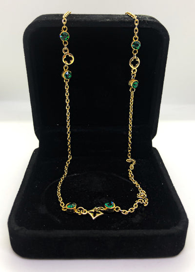 Gold LV style short necklace with green studs