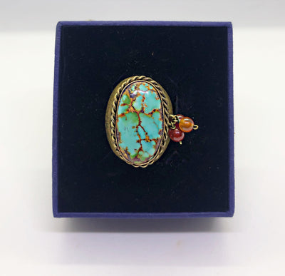 Hand made Gold plated turquoise ring