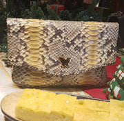 Zinnia Mini Fold Over Clutch Bag; Cocoa Yellow Natural Python Leather