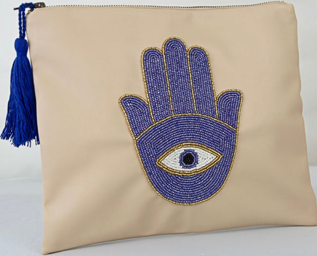 Hamsa hand with evil eye on beige leather tote (All handmade )