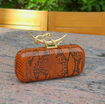 Chic Tulip Clutch; Bag Orange Python Leather