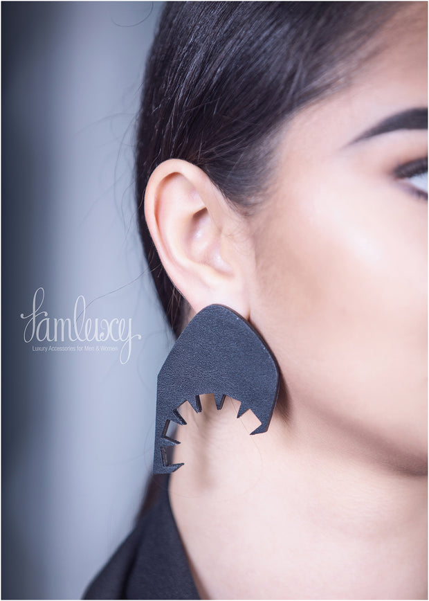 Handmade Gold Plated Leather Earring
