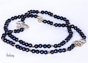 Handmade Natural Stone (Onyx ) long Necklace with gold plated calligraphy (Eshgh,Love)