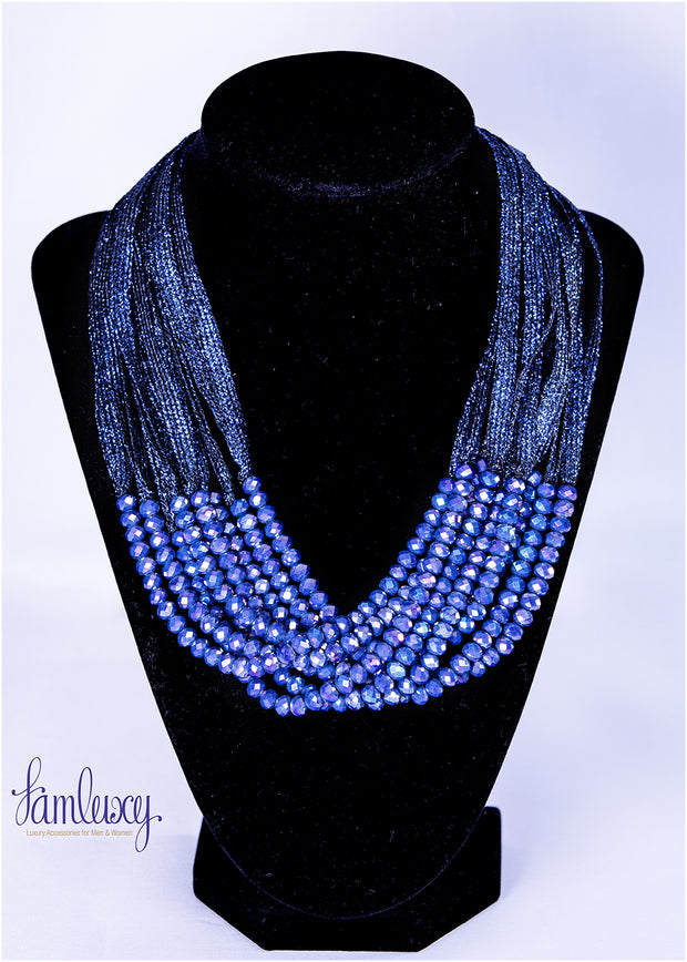 Blue stone long fashion necklace