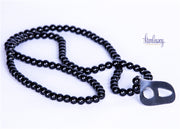 Handmade Natural Stone Long Necklace (Onyx) with silver calligraphy pendent