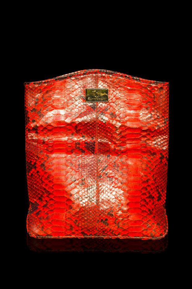 Zinnia Mini Fold Over Clutch Bag; Electric Red Natural Python Leather