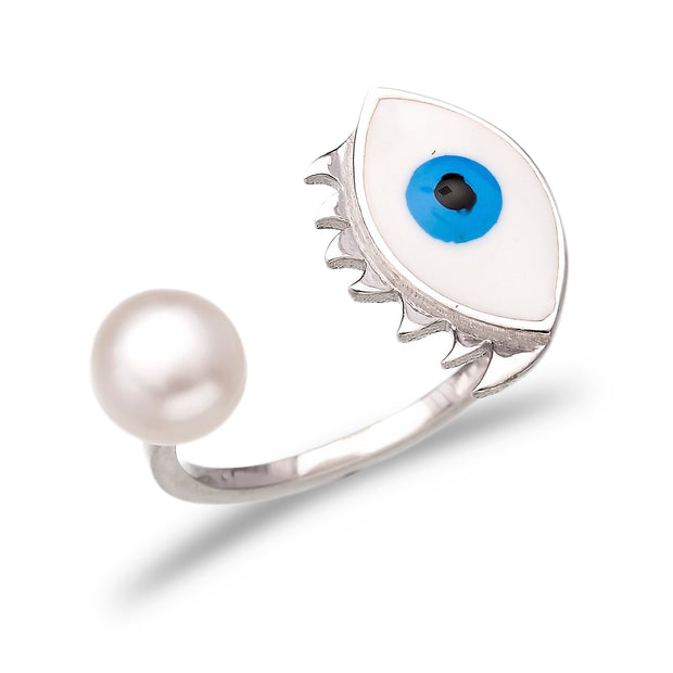 Turkish Handcrafted Adjustable Evil Eye Silver Ring