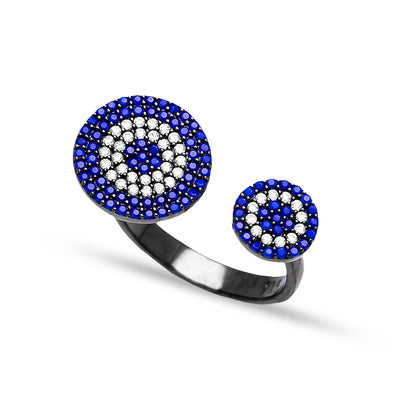 Adjustable Round Ring In Turkish Handcrafted Silver Jewelry