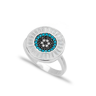 Baguette Evil Eye Ring Handcrafted 925 Sterling Silver Ring