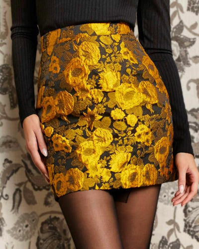 Zipper Back Floral Jacquard Skirt