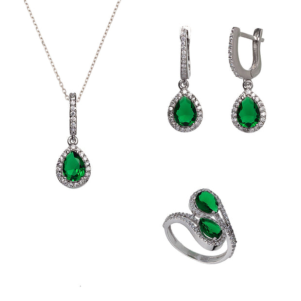 Turkish Handcrafted Zirconia Silver Set