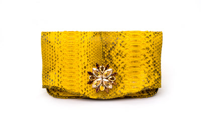 Sylvana Dubayssi Zinnia Mini Swarovski Clutch Bag; Canary Yellow Python Leather