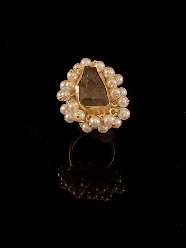 Kyra Gold Smoky Quartz Ring