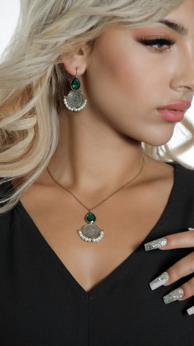Handmade original coins set with Jade stone and Pearl