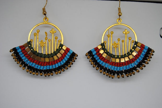 Handmade long necklace and matching earrings