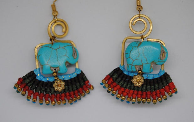 Handmade long necklace and matching earrings (Elephant)