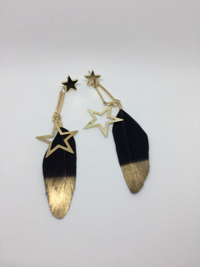 Feather star earrings