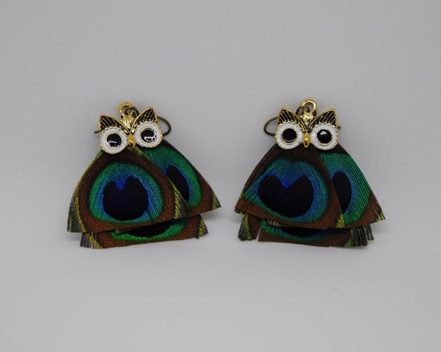 Feather Owl Earrings