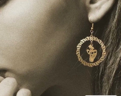 Calligraphy Gold plated earrings