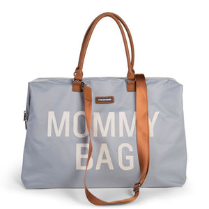 SAC MOMMY BAG - Gris et blanc, anses camel
