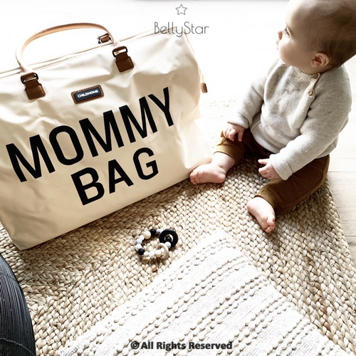 SAC MOMMY BAG - Beige, anses camel