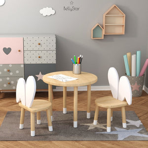 Ensemble table et chaise(s) Oreille de lapin - Bois/blanc