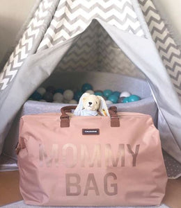 SAC MOMMY BAG -Rose, anses camel