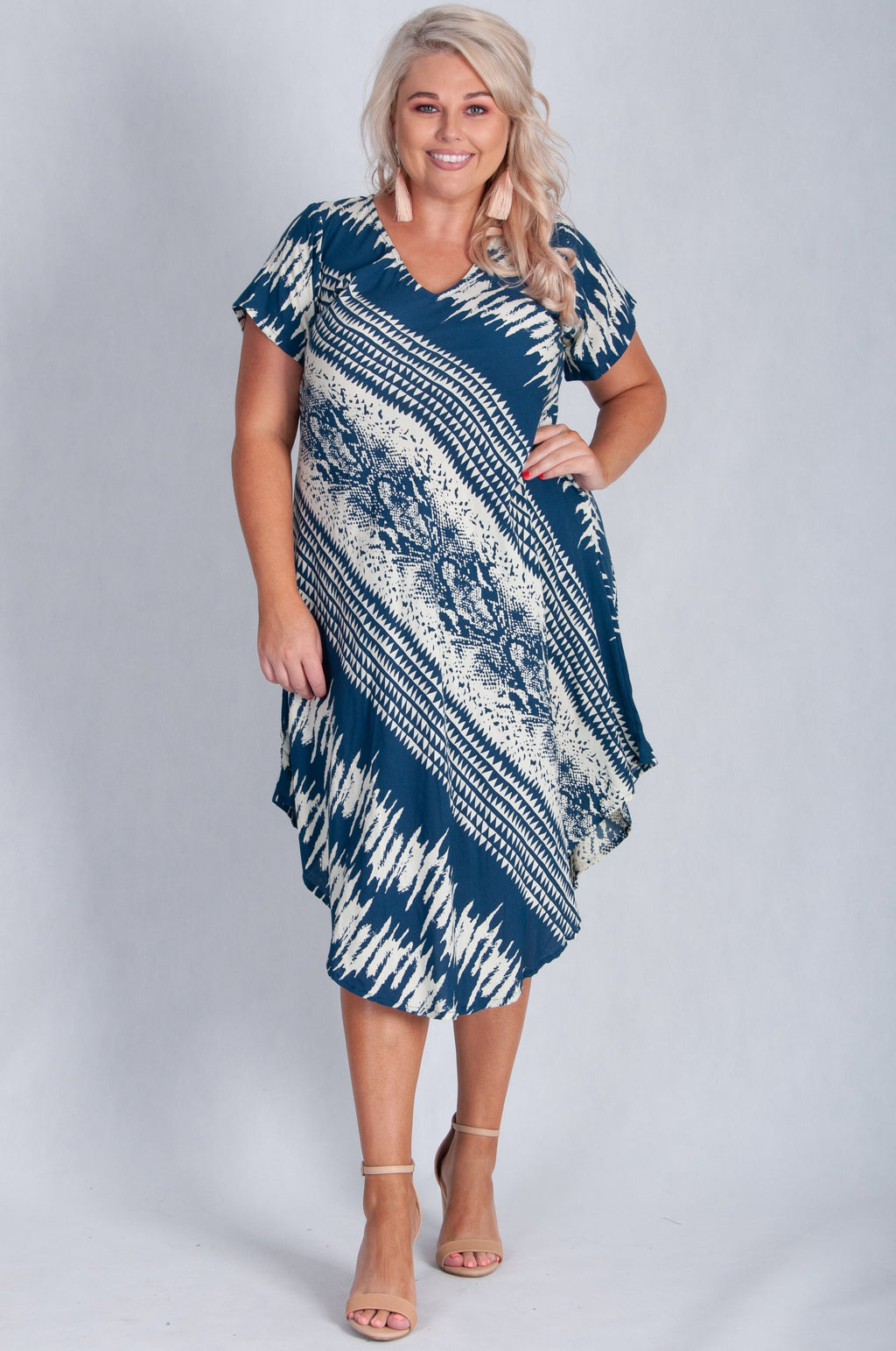VBLD083 - GREAT HARBOUR DRESS - NAVY/CREAM