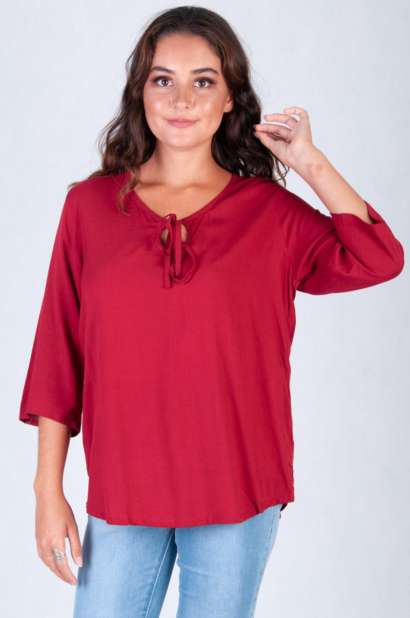 VGLT091 - LACOVIA 3/4 SLEEVE TOP - BURGANDY