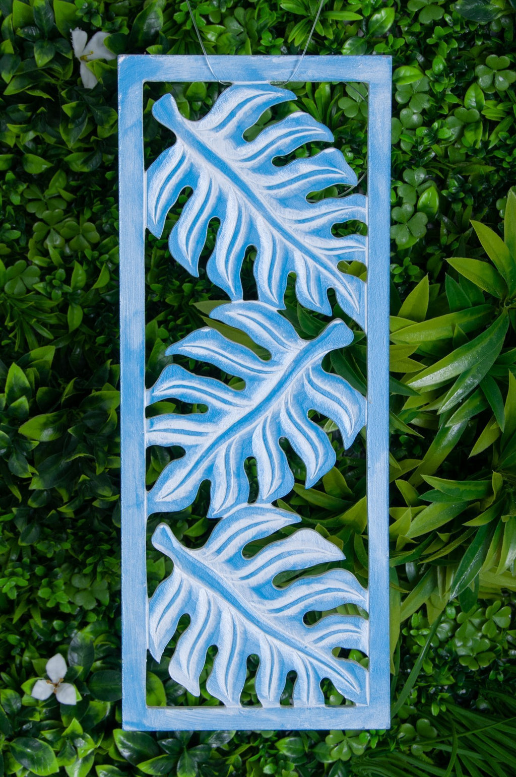 VVLH160 - RECTANGLE FERN PANEL (20 x 50CM) - BABY BLUE WASH