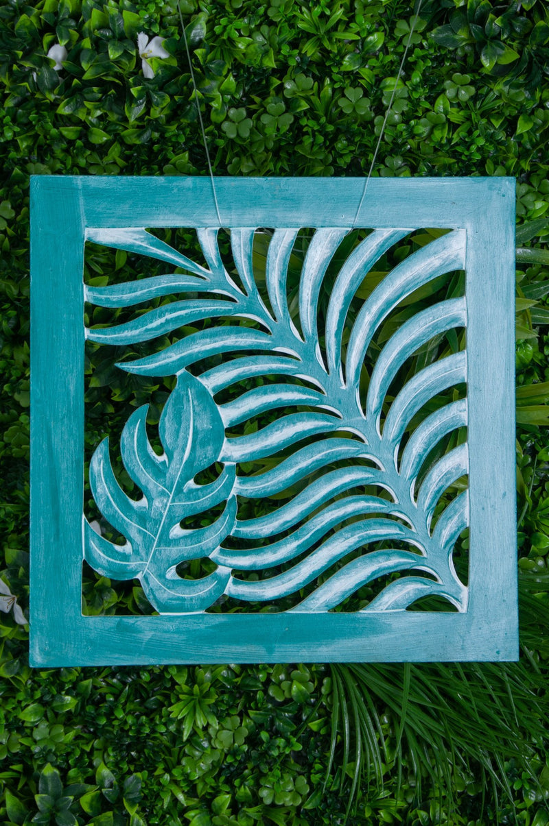 VVLH161 - SQUARE WOOD FERN PANEL - (30 x 30CM) - BABY GREEN WASH