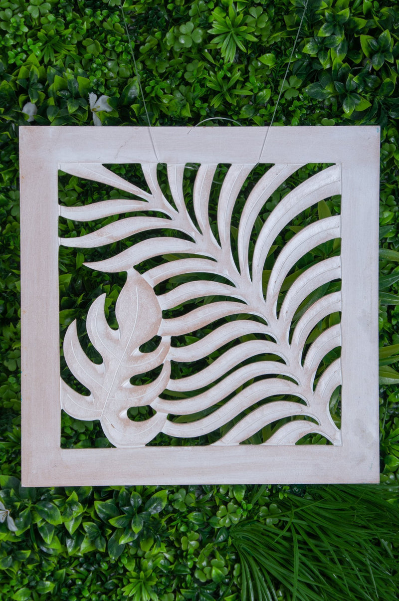 VVLH111 - SQUARE WOOD FERN PANEL 50 x 50cm - WHITE WASH