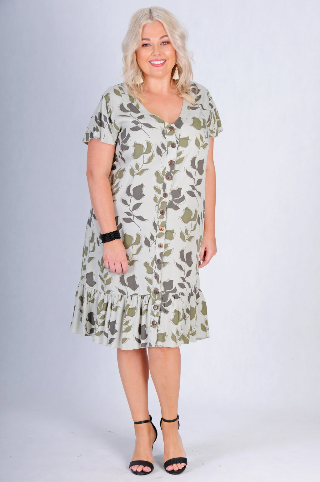 VBLD784 - CAP SLEEVE BUTTON DRESS - KHAKI BLOOM