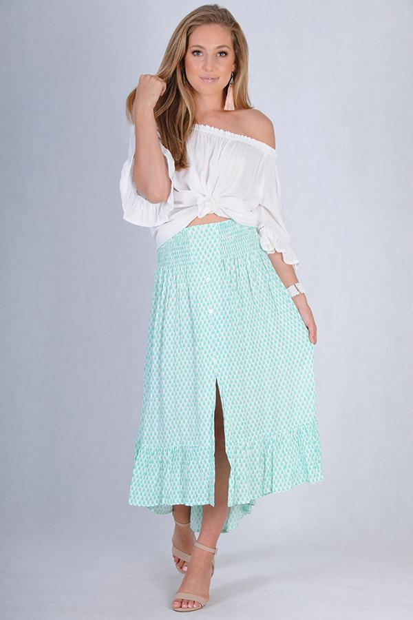 VGLK050 - ROUCHED SKIRT WITH BUTTON DETAIL - WHITE/MINT LEAF