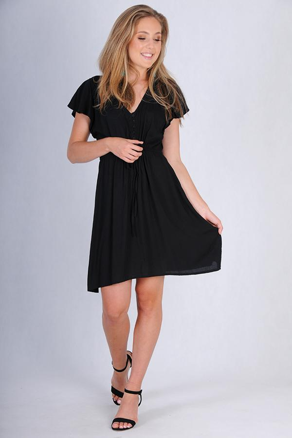 VGLD463 - CAP SLEEVE DRAWSTRING DRESS - BLACK
